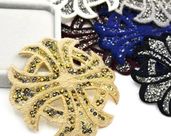 """8pcs 8cm 3.14"""" wide gold/blue/ivory dress bag shoes beads stones appliques patches SI48IN61121XE free ship"""