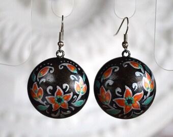 statement earrings sister gift|for|her casual jewelry painted Black earrings handmade earrings bohemian earrings dangle earrings gothic Boho