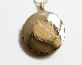 Vintag Large Oval Locket Necklace, Engraved Initials, Romantic Jewelry, Circa 1960's