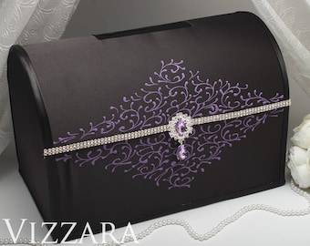 Wedding card holder Black tie weddings Wedding card box holder Purple and black wedding Card holders for wedding Black and purple wedding