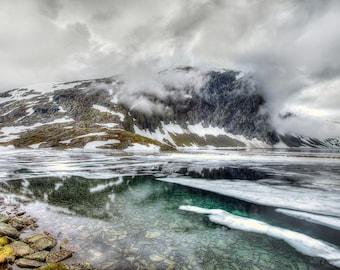 Djupvatnet Norway print, winter landscape, mountain snow vista,  travel wall art