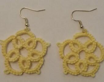 Tatted yellow dangle earrings for pierced ears