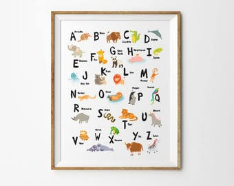 English Alphabet , 8 x 10 in, 11 x 14 in, 17 x 22 in, Alphabet Poster, Children Wall Art, ABC Art Print, Baby Room Decor, Kids Room Decor