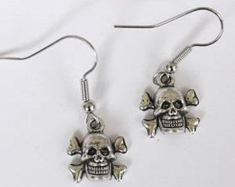 Pirate earrings, Skull earring, On Sale, skull, skull earrings, pirate, Ready to ship,goth,punk,stocking stuffer