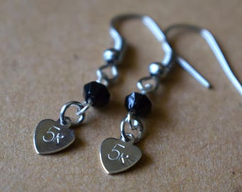 "Hand Stamped ""5k"" Earrings with Black Beads"