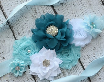 Teal baby blue white  Sash , flower Belt, maternity sash, wedding sash, flower girl sash, maternity sash belt