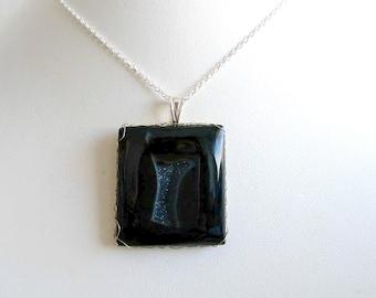 Pendentif Agate noir argent made in France