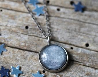 Mercury Planet Pendant - Galaxy Space Necklace - Antique Silver or Bronze - Petite Solar System - Cosmic Jewelry, Gemini Virgo Birthday