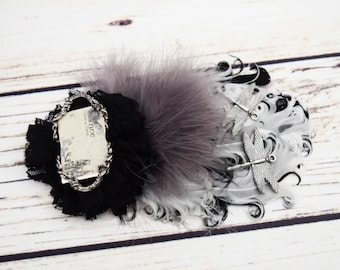 Handcrafted Fairytale Steampunk Hair Clip - Black White Grey Silver - Fancy Feather Bow - Dragonfly Hair Accessory - Story Book Wedding Hair