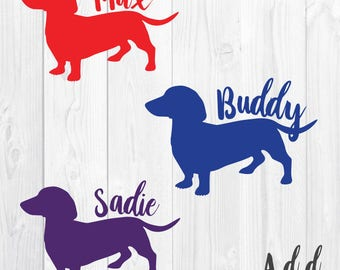 Wiener Dog with Name - Decal - Sticker - Dog - Dachshund - Name - Sausage Dog - Wiener Dog