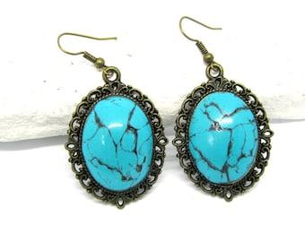 Blue turquoise earrings, Turquoise earrings,Turquoise lover gift, Blue earrings, Women jewelry gift, Blue drop earrings, Valentines jewelry