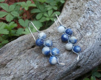 SODALITE and Sterling Silver ZigZag Earrings, Unique Earrings, Boho Jewelry