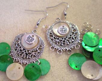 KIT Earrings hook * fabulous Lotus flower on green background *.