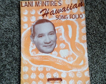Hawaii Music Book Rare Vintage Lani McIntire Hawaiian Songbook Folio 1940s Peach Cover lcww