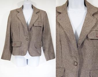10 Dollar Sale---Vintage 80's Brown Tweed Blazer Size 9