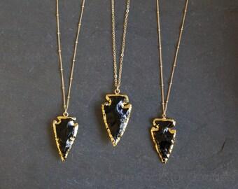 Black Obsidian Necklace / Raw Obsidian Necklace / Arrowhead Necklace / Gold Obsidian Necklace