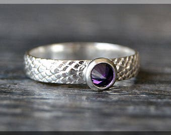 Sterling Silver Birthstone Ring, Choose Your Birthstone, Stacking Gemstone Ring, Snake Skin Shank Ring, Layering Ring, Inverted Setting