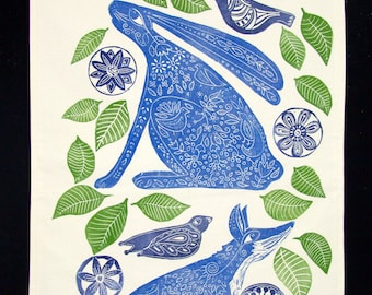 linocut, wall hanging, fox, hare, blue, textile art, ready to hang, animal print, woodland animals, printmaking, green, bird print