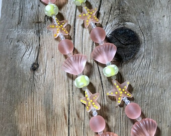 Lampwork Sea Glass Ocean Beach Bead Strand - Starfish, Rondelle, Shell - Pink Lemonade - 10 Beads per strand - 1 Strand per Order
