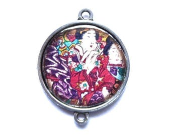 Asian cabochon, Japanese geisha connector in silver, 25 mm in diameter