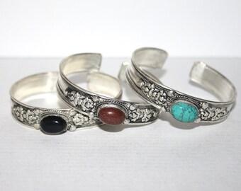 Turquoise Bracelet, Onyx Bracelet, Goldstone bracelet, Boho bracelet, Silver Bracelet, Tribal Bracelet, Gypsy bracelet, Hippie Bracelet
