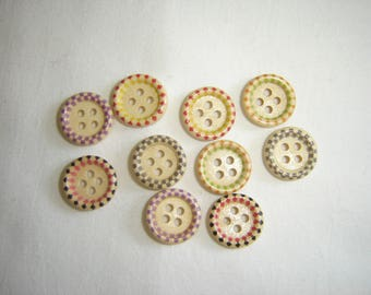 10 FANCY BABY CHILD WOOD BUTTONS / / 15 MM / / SET 1
