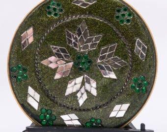 vintage enamel hand mirror, green, glass