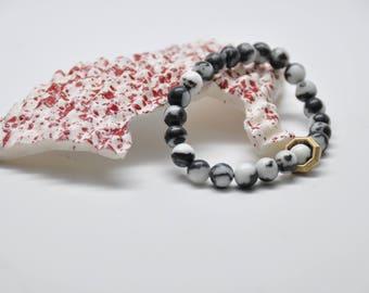 Brass + Gemstone Bracelet: Zebra Jasper