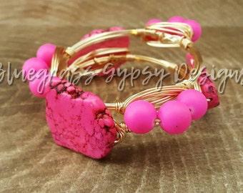 Hot Pink Magnesite Wire Bracelet, Bracelet, Bangle, Bourbon & Boweties Inspired