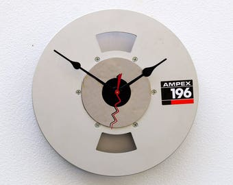 Recycled Aluminum Video Tape Reel Clock, upcycled analog music clock, repurposed video clock, retro analog birthday gift, tape reel clock,