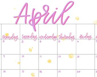 April 2018 Calendar Download