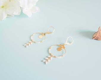"Earrings ""Ninon"" beads & brass glass"