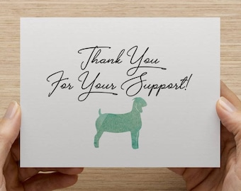 Show Steer, Show Lamb, Show Goat, Show Pig, 4-H, FFA, Thank You Card, 4-H Buyer, Appreciation Card, Steer, Lamb, Goat, Pig, Card, Cards, 5Pk