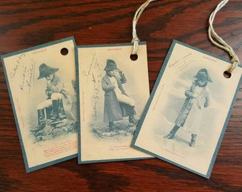 Vintage post card hang tags paper craft Altered art little boy napolean assorted pose set of eight