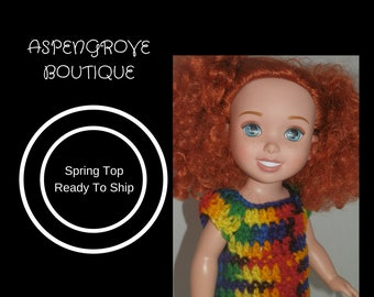 14 inch doll rainbow top clothes handmade crochet ready to ship