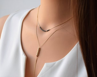 Gold Layered Necklace, Set Of 2 Gold filled Necklaces, Hematite Necklace, Gold Y Necklace, Double Layered Necklaces, Dainty Y Gold Necklace