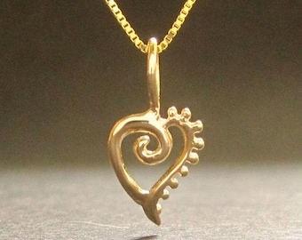 Tiny Heart pendant, 14k white, rose or yellow gold, heart, recycled solid gold necklace, handmade in USA