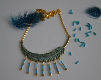Necklace blue and Gold feather pattern