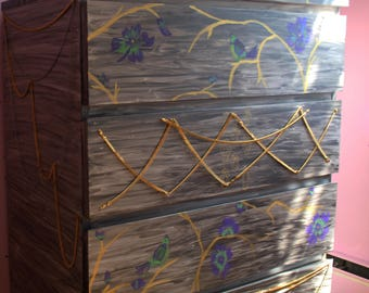 Gipsy bohemian style painted chest drawer, 4-drawer chest.