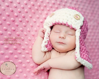 Aviator Hat Newborn Baby Photo prop in PINK - Bomber Pilot Flyer Baby Hat Infant Girl Boy Photography Shoot all Babies PERFECT GIFT Newborns