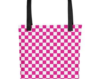 Pink Checkerboard Pattern Tote bag