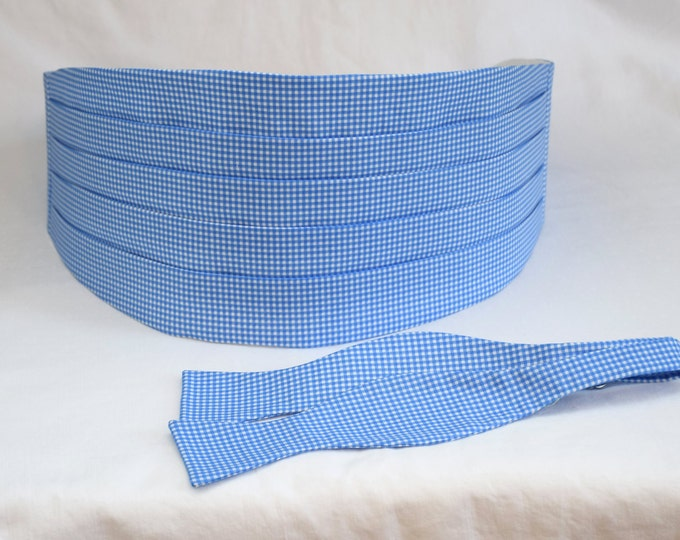 Cummerbund & Bow Tie, pool blue mini gingham, groom/groomsmen cummerbund set, wedding party wear, tuxedo accessory, custom preppy cummerbund