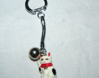 Vintage Japan Maneki Neko Cat Key Chain