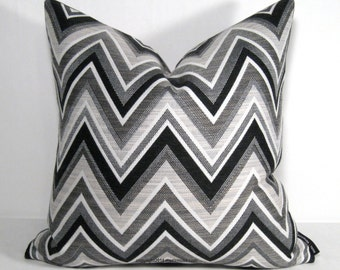"Sale, PAIR Black White & Grey Outdoor Pillow Cover, TWO Modern Chevron Pillow Cover, 18""x18"" Decorative Gray Sunbrella Cushion Cover"