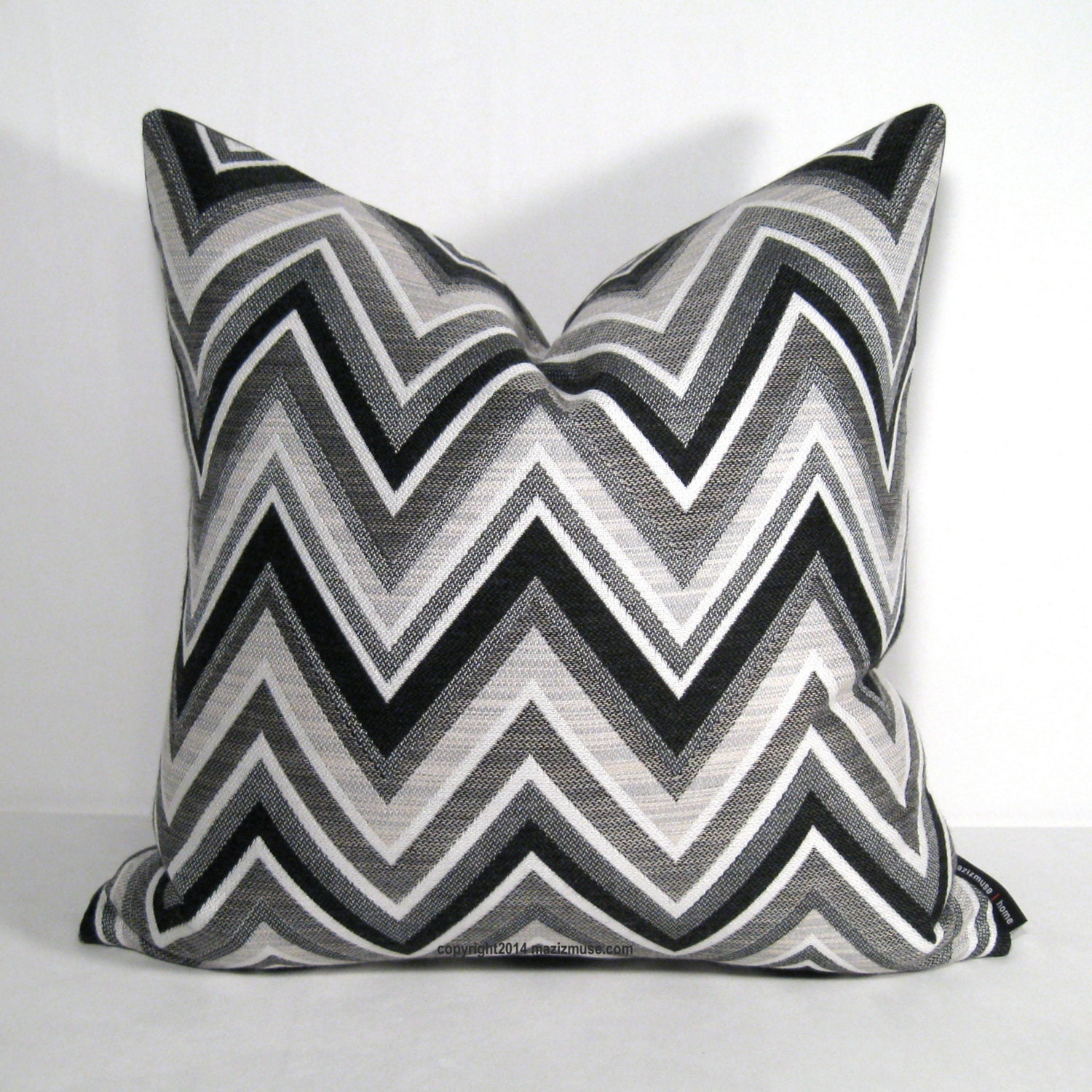 Sale PAIR Black White Grey Outdoor Pillow Cover TWO Modern