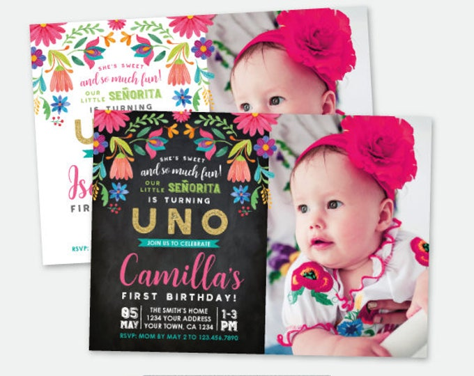 First Fiesta Birthday Invitation with Photo, Cinco de Mayo Birthday Party, Little Señorita, Any Age, Personalized Digital Invite, 2 Options