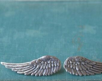 Wing hair clips barrettes angel silver finish retro fantasy hair clips pair