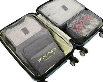 Traveling 6pc set Packing Cubes, Multifunctional Clothing sorting, Luggage Organizer pouch.