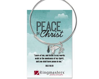Peace In Christ Bangle Bracelet with charms D&C 19:23 LDS Mutual Theme for 2018
