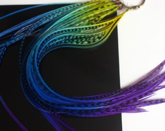 8 Rainbow Hair Feather Extensions Lime Blue Purple Nautical Mix Rainbow Hair Accessories